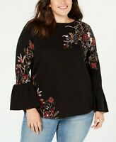 Style & Co Plus Size Cotton Jacquard Bell-Sleeve Sweater, Multi, 3X