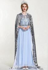 "Paillette Satin Wedding Cloak 71"" Long Cape Wicca Robe Pageant Cosplay Costumes"
