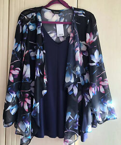 Stunning EVANS Navy Floral Waterfall Jacket Size 18/20 BNWT With FREE VEST TOP