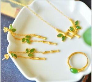 Inlaid jasper bamboo knots 23K 24K Thai Baht Gold Filled Yellow GP Necklace Set