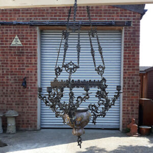 Victorian Gothic Revival Bronze Chandelier With Aesthetic Ceramic Bowl