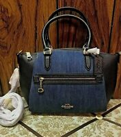 ❤️ New Coach Elise Denim & Leather Blocked Denim/Gold 89315 Satchel ❤️