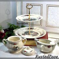 Vintage OBERNAI by SARREGUEMINES Serving tray, sugar, Creamer - France - 3 pcs