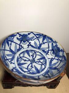 Large Japanese bowl of OLD Arita IMARI blue-and-white porcelain Bat Motif