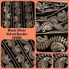 9 Yards Black Velvet Silver Sequin Trim Saree Border Embroidery Tape Sewon Lace