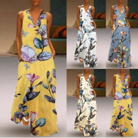 Summer Ladies Women's Casual Sleeveless V-neck Printed Maxi Tank Long Dresses US