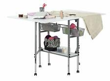 Hobby and Craft Cutting Table Sewing Storage with Drawers Folding Silver/White