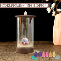 LED Ceramic Backflow Waterfall Smoke Incense Censer Holder Home Decor + Cones
