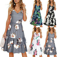 Women's Summer V-Neck Floral Print Sleeveless Party Layered Ruffle Swing Dress