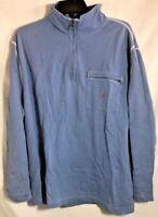 NAUTICA Men's Light Blue Quarter Zip Shirt w/Front Zip Pocket Long Sleeve Sz XL