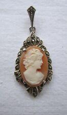 Vintage A 835 Silver Marcasite Cameo Pendant  Necklace ? Belgium