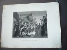 GRAVURE 1880 LOUIS VXIII QUITTE LES TUILERIES NUIT DU 19 AU 2 MARS 1815