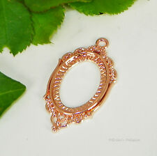 25x18 Oval Rose Gold Plated Cabochon (Cab) Drop Setting (#C1-40)