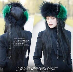Original Designer's Fur headband headwrap Black raccoon w/ Green Blue Red