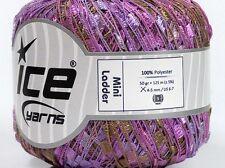 Evening Song Mini Ladder Yarn #47231 Ice Lilac Purples, Browns Ribbon 50 Gram