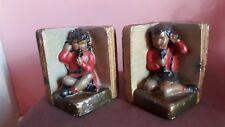Book Ends Bookends Plaster Made in London Painted Vintage Children on Telephones