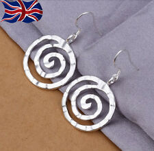 925 Sterling Silver plated Circle Earrings Drop Hammered Finish Spiral Dangle UK
