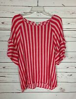 Umgee Boutique Women's S Small Pink Stripe Ruffle Cute Spring Summer Blouse Top