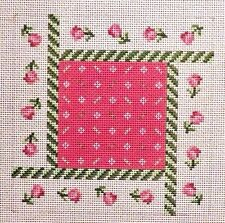 Susan Roberts Rotating Roses Square Pattern Handpainted Needlepoint Canvas