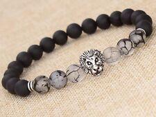 Hot Men Fashion Black Lava Stone Silver Lion Beaded Cuff Charm Bangle Bracelet