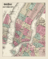 "Vintage Street Map of New York  City CANVAS PRINT poster 24""X16"""