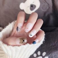 24pcs Cute Bear French False Nails Art Acrylic Full Cover Tips Manicure Glue