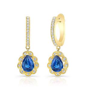 14k Yellow Gold Pear Blue Sapphire Diamond Dangle Teardrop Earrings 2.21 TCW