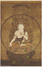 Japanese antique painting Thangka Buddhist Buddha Bodhisattva sitting on stand