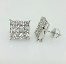 Men 925 Sterling Silver Lab Diamond Flat Screen Square Screw Back Stud Earrings