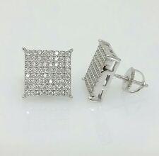 Men 925 Sterling Silver Lab Diamond Flat Screen Square Screw Back Stud Earrings