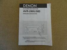 Denon Avr 2805 / 985 Avr Surround Receiver Operating Instructions Manual