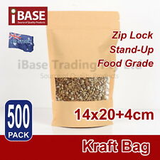 500x Stand Up Bag Kraft Paper Seal Packaging Window Zip Lock Pouch Food M1