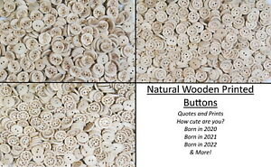 Natural Pattern and Quotes Printed on Wooden Buttons - Unique Prints,Kids,Crafts