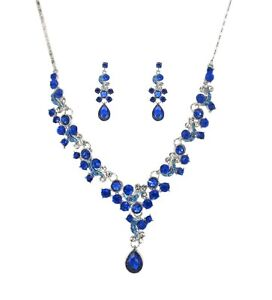 Sparkling Blue Crystal Necklace and Earring Set in Silver Plating - NEW