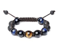 HIGH QUALITY BLUE+BROWN 12MM TIGERS EYE AND LAVA STONE SIZE ADJUSTABLE BRACELET