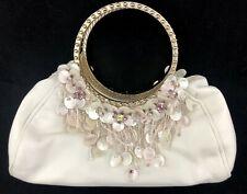 Badgley Mischka White Leather Small Purse Bag Mother Of Pearl Crystals & Beads
