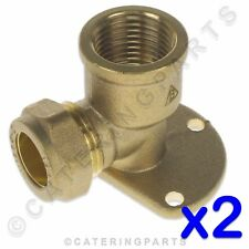 """PACK OF 2 x BPE01 BRASS COMPRESSION BACKPLATE ELBOW CONNECTORS 1/2"""" x 15mm GAS"""
