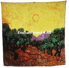 "Handmade 35""x35"" 100% Silk Art Scarf Wrap Handrolled w/ Van Gogh's ""Olive Trees"""