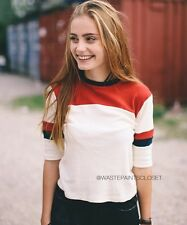 New! Brandy Melville Navy Red Half Sleeve Ringer Wyatt Top Shirt Nwt