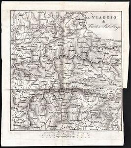 Austria-Viaggio da Trento a Salisburgo-Carta postale-Vallardi-1832