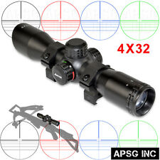 4X32 CROSSBOW Scope w/ Picatinny Rings,Reticle Illumination,Clear Glass,Warranty