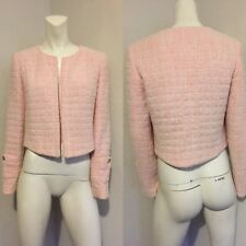 Rare Vtg Chanel Pale Pink Terry Cloth CC Logo Button Jacket FR38