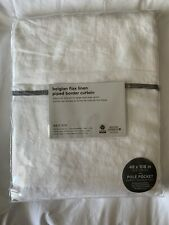 West Elm Belgian Flax Linen Piped Border Curtain 48x108 White w/ Gray Border New