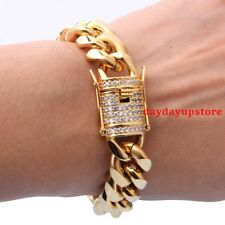 Men's Stainless Steel 15mm Gold Plated Crystal Cuban Curb Chain Bracelet Bangles