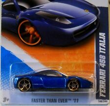 2011 Hot Wheels #146 FASTER THAN EVER * FERRARI 458 ITALIA * FTE DARK MF BLUE