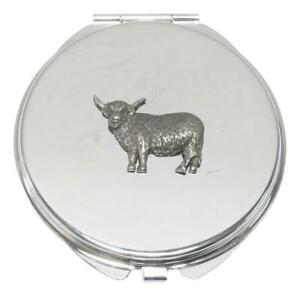 Highland Cow Compact Mirror Handbag Gift With Free Engraving 179