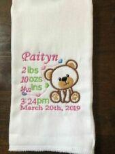 Teddy Bear Birth Announcement Keepsake embroidered burp cloth Pink
