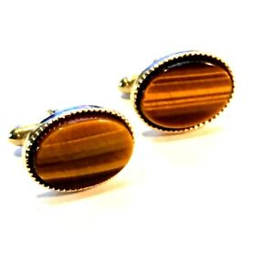 SWANK Mid Century Oval Tigers Eye Cuff Links, Piping, Stainless, Gold Tone + Box