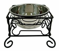 """YML Group Inc 10"""" Wrought Iron Stand with Single Stainless Steel Feeder Bowls"""