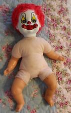 "14"" Vtg 1981 GATABOX Perfekta Clown Baby Doll in Pajamas Cloth Vinyl Red Hair"